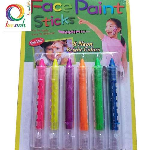 MÀU HÓA TRANG HALLOWEEN 6 MÀU NEON FACE PAINTING STICK PUSHING-UP
